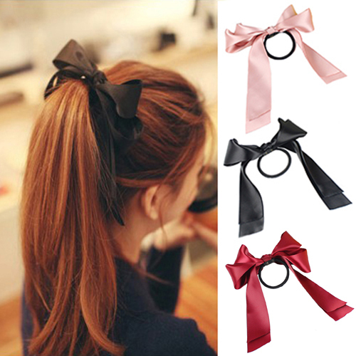 Lackingone 1X Women Tiara Satin Ribbon Bow Hair Band Rope Scrunchie Ponytail Holder 8 Color Hot(China (Mainland))