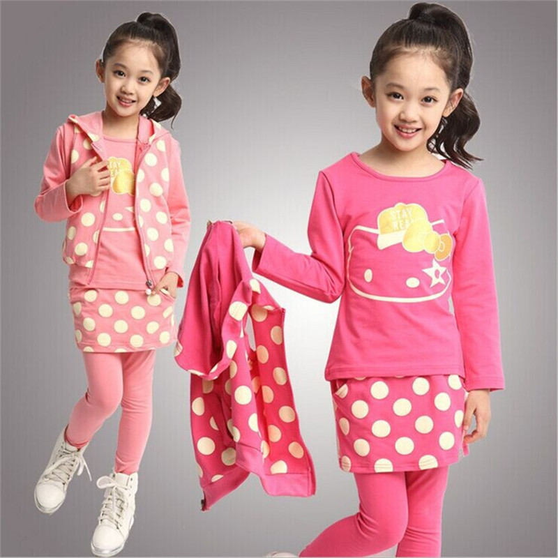 2014 newest Girl's winter clothing sets baby Girl's suit sets HELLO KITTY Girl Clothing sets t-shirts+pants+vest 3pieces/set(China (Mainland))