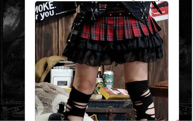 Black and Red Tartan Plaid Rivet Mini  Skirt + Waist Bag