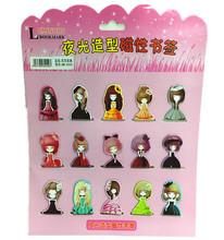 Free shipping cute stationery cartoon magnetic bookmark clip 18 Bookmarks magnetic cartoon book mark(China (Mainland))
