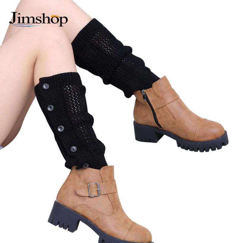 Jimshop 2016 Women Mesh Five Buttons Winter Leg Warmers Socks Crochet Knit Boot Cover Toppers Cuffs - Store store