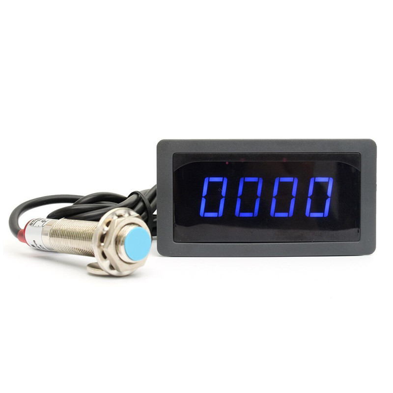 4 Digital Blue&Green LED Tachometer RPM Speed Meter+Proximity Switch Sensor 12V Favorable(China (Mainland))