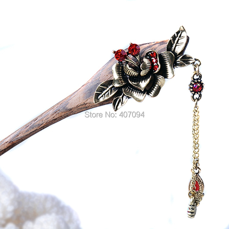 (3 PCS/LOTS) Wood Charm Rose Flower Hair Sticks Costume Long Hairpins For Ladies(China (Mainland))