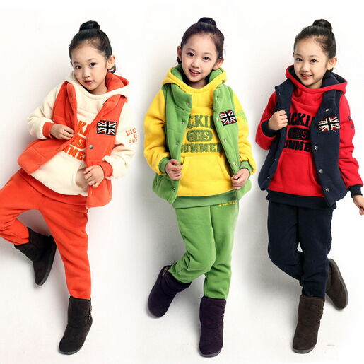 2014 Hot Autumn Winter Baby Girls Boys Thick Warm Casual Coat +Pants+Waistcoat 3Pcs/Set Childrens Kids Clothing Sets Outerwear(China (Mainland))