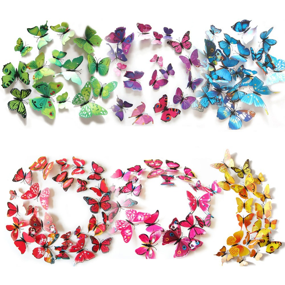 EA14 12PCS 3D PVC Magnet Butterflies DIY Wall Sticker Home Decor Free Shipping(China (Mainland))