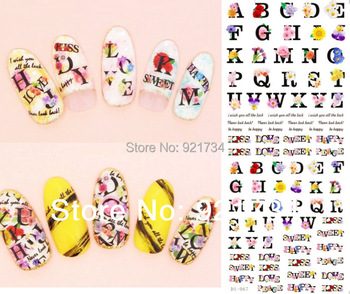 Plz see details 2014 newest water nail art sticker transfer printing decal DLS series flower etc types mix wholesale 100 pcs