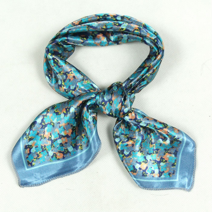2014 New Arrival Brand Pattern Fashion Accessories Women Satin Polyester Small Square Scarf Printed Girl Blue Silk Scarf 52*52cm(China (Mainland))