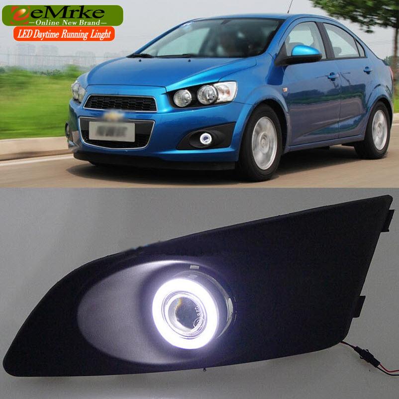 eeMrke FOR Chevrolet Sonic / Holden Barina COB Angel Eye DRL Fog Lights Halogen Bulbs H11 55W Daytime Running Lights Kits(China (Mainland))
