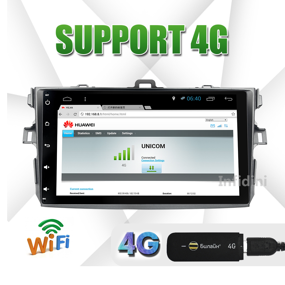 1024*600 Toyota corolla 2007 2008 2009 2010 2011 android 4.4 car dvd gps radio video audio player gps car dvd in dash 2 din(China (Mainland))