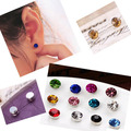 2015 New 24pcs Lot 4 6 mm No Hole Round Crystal Magnetic Magnet Earrings For Women