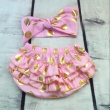 Metallic Gold Polka Dots Ruffle Baby Bloomer Set ,Baby Bloomer Turban Hedband  ,Newborn outfit ,cash smash bloomer baby clothes(China (Mainland))