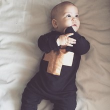 2015 Autumn New Newborn Baby Rompers Golden Cross Print jumpsuit Black high quality Rompers Cotton Clothes for Age 0m-2T Z096(China (Mainland))