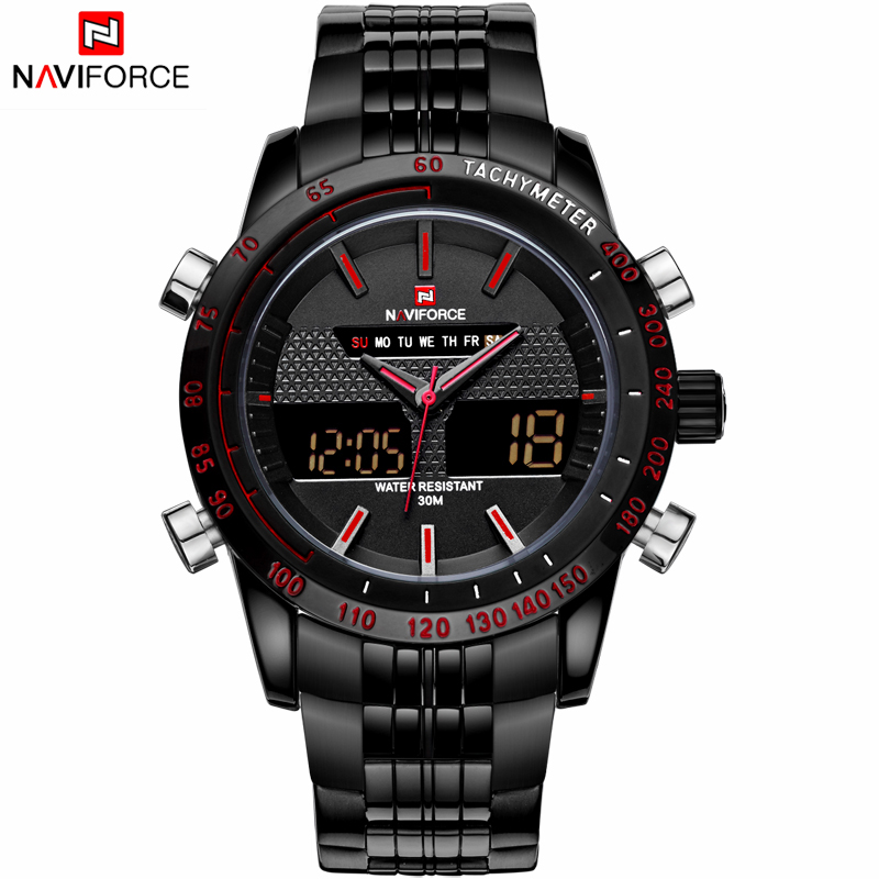 NAVIFORCE Luxury Brand Black Full Steel LED Clock Men Quartz Digital Watch Army Military Sports Watches Men's Watch Male Relogio(China (Mainland))