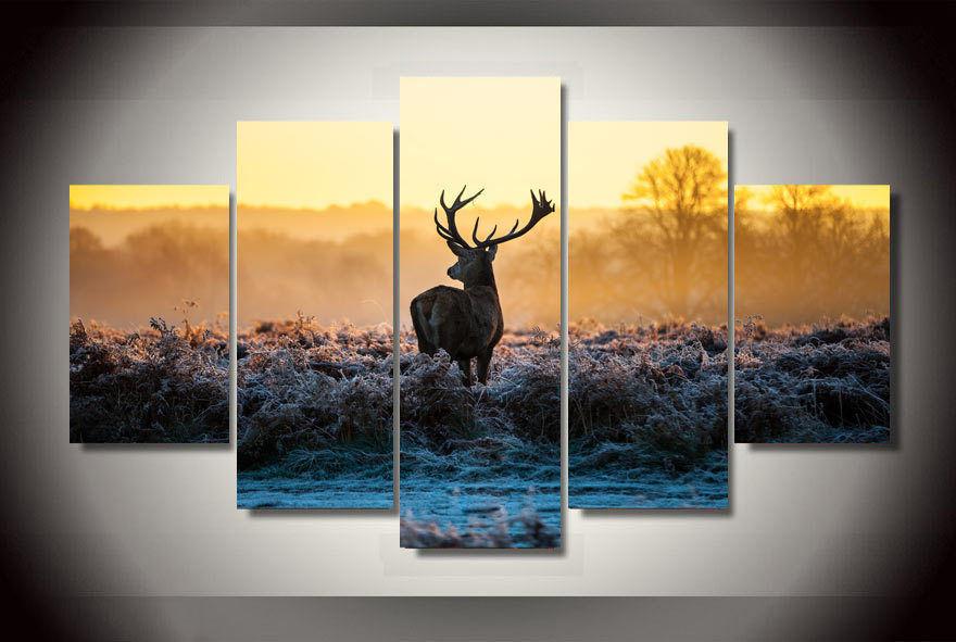 Deer Animal Africa 5 Panels Wall Art Canvas Paintings Wall
