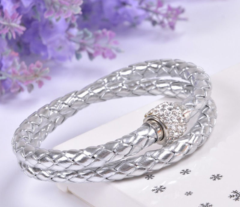 Hot Brand Magnetic Faux Leather Cord Bracelet Women Accessories Silver 6Colors - Fashion Store NO.1 store