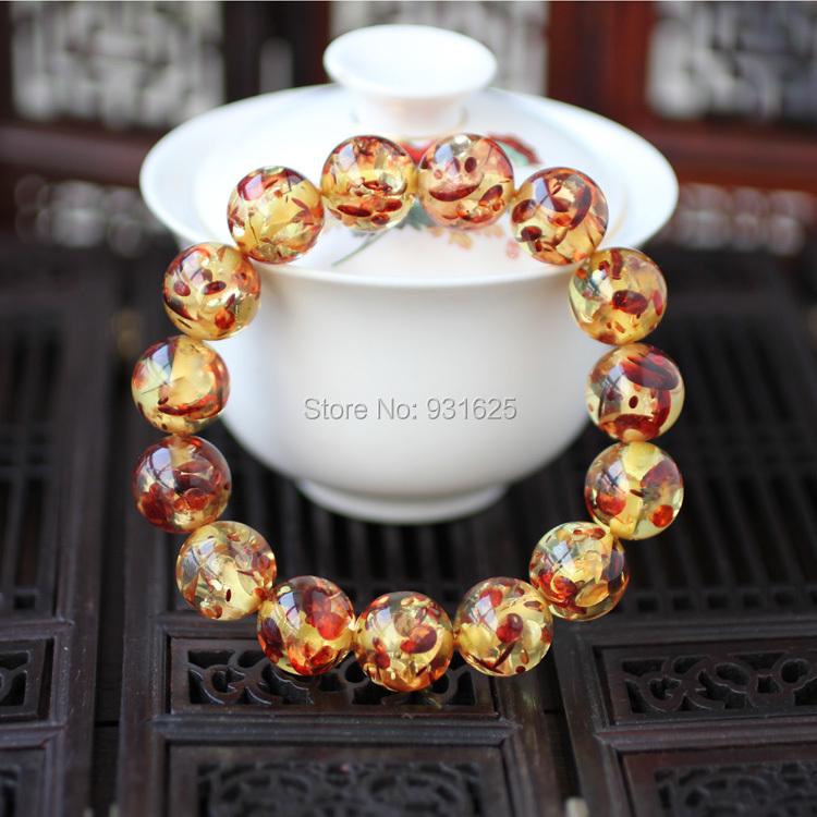 Wonderful Hot Fashion 10mm Yellow Red Amber Beads Elastic Bracelet Gem Charm Amber Stretch Bracelets Fashion Woman man's Jewelry