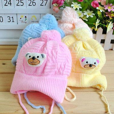 1PCS Baby hat Boy Girl Infant Toddler Cute Soft Crochet Bear Hat Beanie Warm Newborn Cap(China (Mainland))