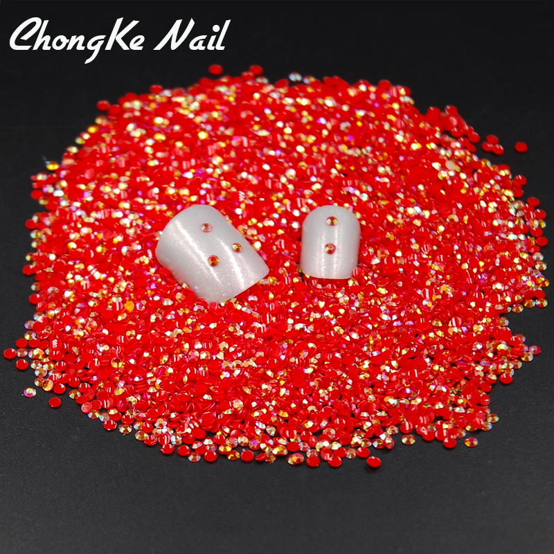 Hot New Fashion 2mm 2000Pcs/Bag Red Jelly AB/Light Siam Jelly AB Color Resin 3D Nail Art Glitter Rhinestone DIY Decoration(China (Mainland))