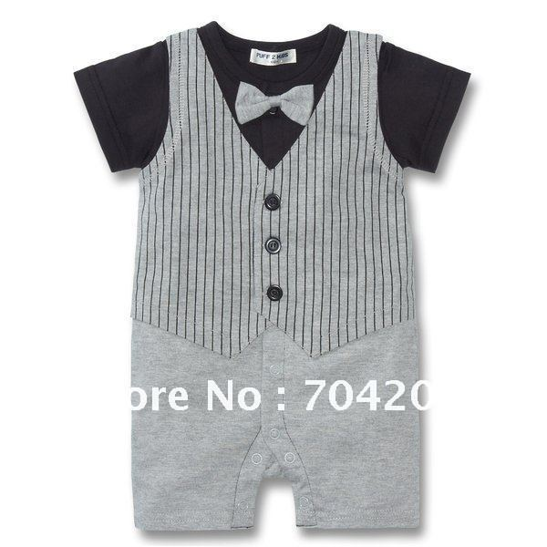 8pcs/lot-2 deisgns Tux one piece Short sleeve Gentleman style/Baby Rompers/baby wear/Baby clothing