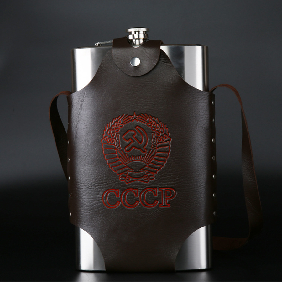 Large Capacity 64 oz Leather Thickening 304 Stainless Steel Proof Kettle Pot Hip Flask Whiskey Wine Bottle Gifts Free Shipping(China (Mainland))