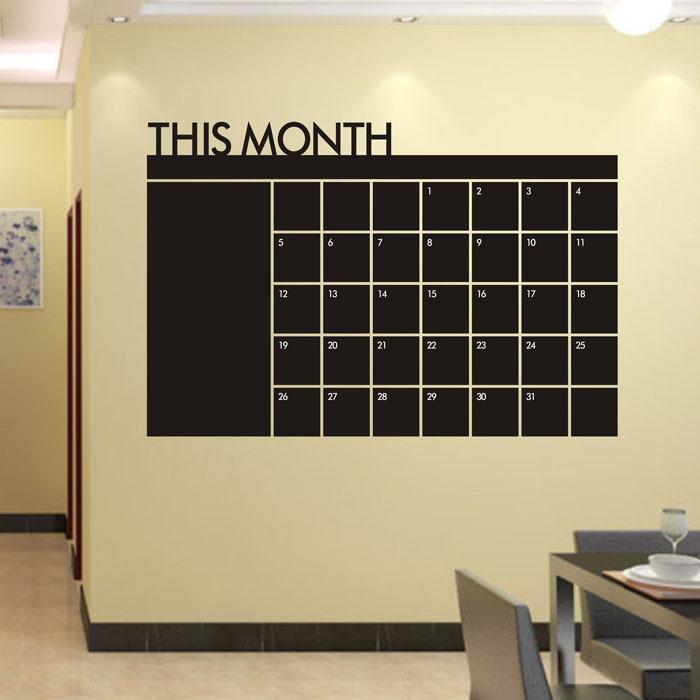 Superb! Superb! 60x92 Month Plan Calendar Chalkboard MEMO Blackboard Vinyl Wall Sticker Free Shipping&Wholesale Alipower(China (Mainland))