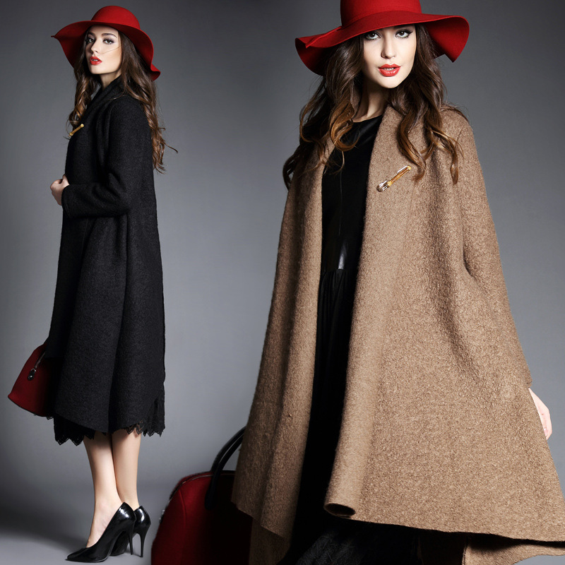 2015 Elegant Wool Coat Female Fashion Woolen Outerwear Overcoat Trench Cappa - E-Mall store