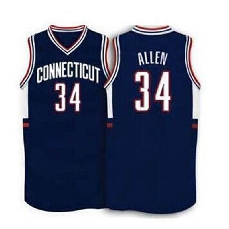 #34 Ray Allen Connecticut Huskies1996 Throwback Basketball Jersey Embroidery Stitched Custom any Number and name Jerseys(China (Mainland))