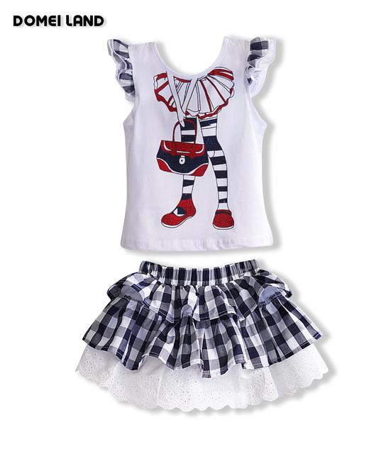 2016 летняя мода детская одежда костюмы устанавливает для детей девушки хлопка с ...