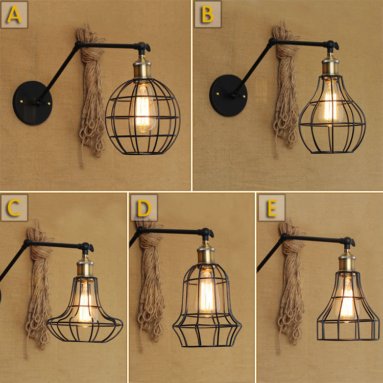 American country style retro an exclusive creative industry long arm bar, wrought iron frame formwork net decorative wall sconce