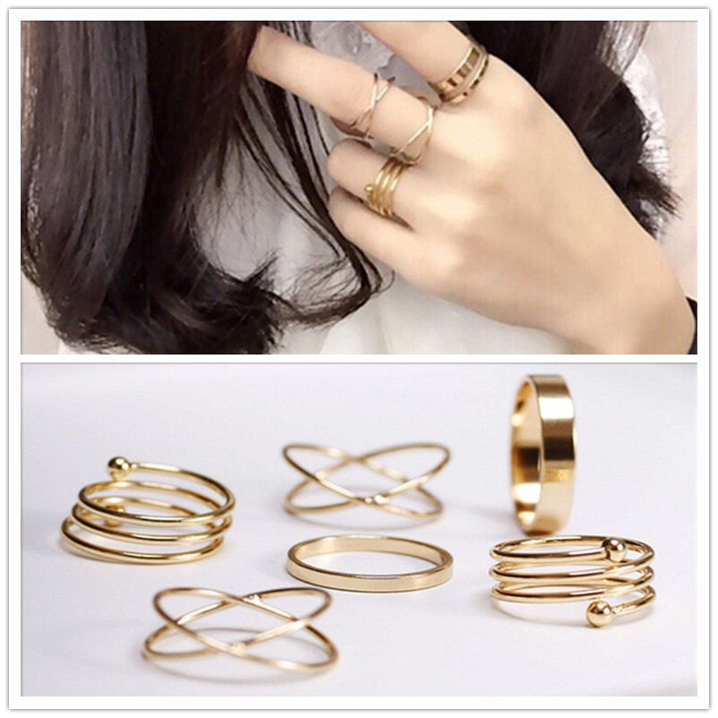 6\Pcs punk gold plated stackable Knuckle midi rings for women Finger Ring set bague Ring Set anillos mujer anel(China (Mainland))
