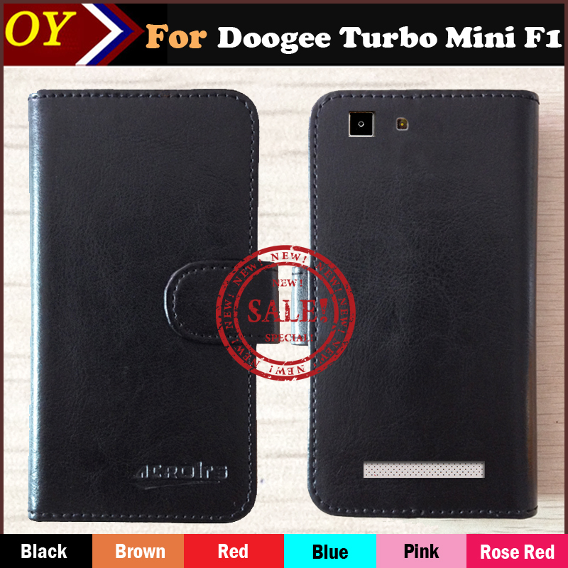 In Stock! Case For Doogee Turbo Mini F1 6 Color Dedicated Flip Leather Case Cover Stand Function Card Holder Wallet Bags(China (Mainland))