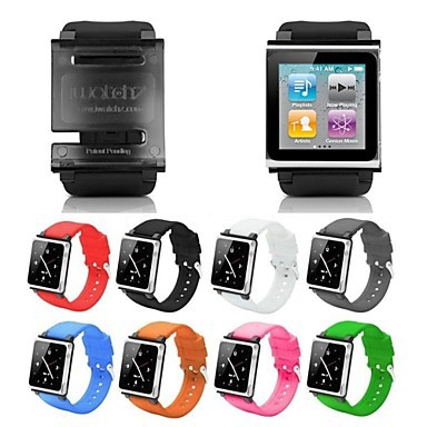 Z0004 iWatchz Q Series Silica Gel Clip Bracelet Watch Band Wrist Strap for iPod Nano 6 6th Gen (Assorted Colors)(China (Mainland))