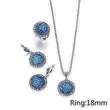 אופנה 1 סט שחור מעגל זירקון שרף עגול אבן עגיל לבן קריסטל תכשיטי סט צמיד שרשרת עגול חתונה טבעת(China)