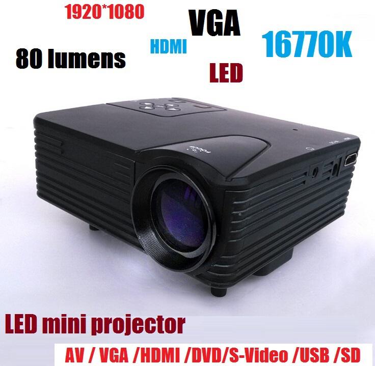 [해외]80 루멘의 강력한 기능 1080P 비디오 휴대용 프로젝터를 홈 H..
