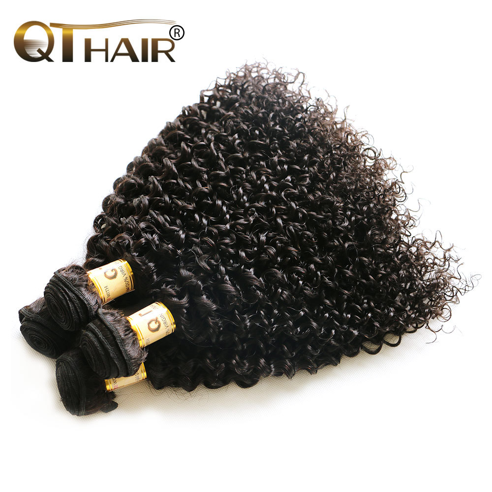 Queen Hair Products 4 Bundles Peruvian Kinky Curly Virgin Hair Unprocessed Peruvian Curly Hair Human Hair Extensions Deep Wave