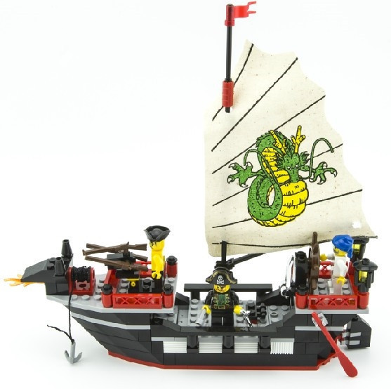 Enlighten  Pirate Series Pirate Ship Dragon Boat Model Building Blocks Sets Minifigures Compatible With Lego 211PCS