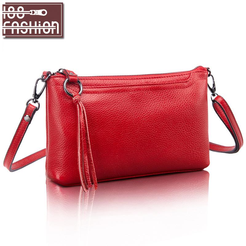 Cowhide Genuine Leather Women Messenger Bags Tassel Crossbody Bag Female Fashion Shoulder Bags for women Clutch Small Handbags(China (Mainland))