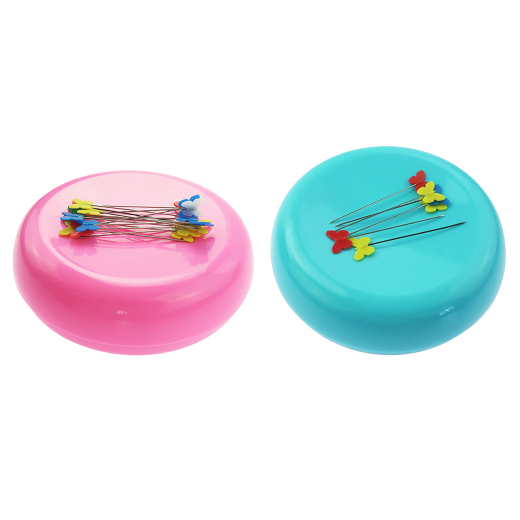 Color - Blue Round Shaped Magnetic Needle Holder Pin Cushion Storage Box Sewing Accessories