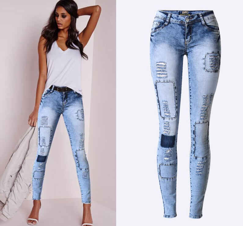 push up ripped denim women pants jeans in jeans from women 39 s clothing. Black Bedroom Furniture Sets. Home Design Ideas