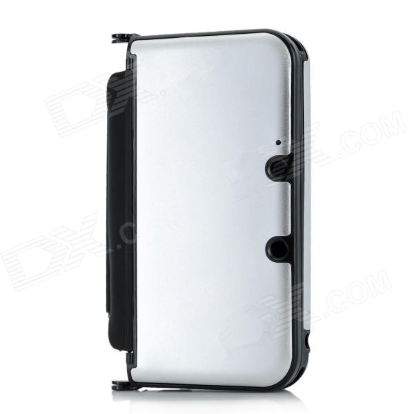 Metallic silver Protective Aluminum Plastic Shell Cover Box Hard Metal Flip Open Case for Nintendo 3DS LL/XL Free shipping(China (Mainland))