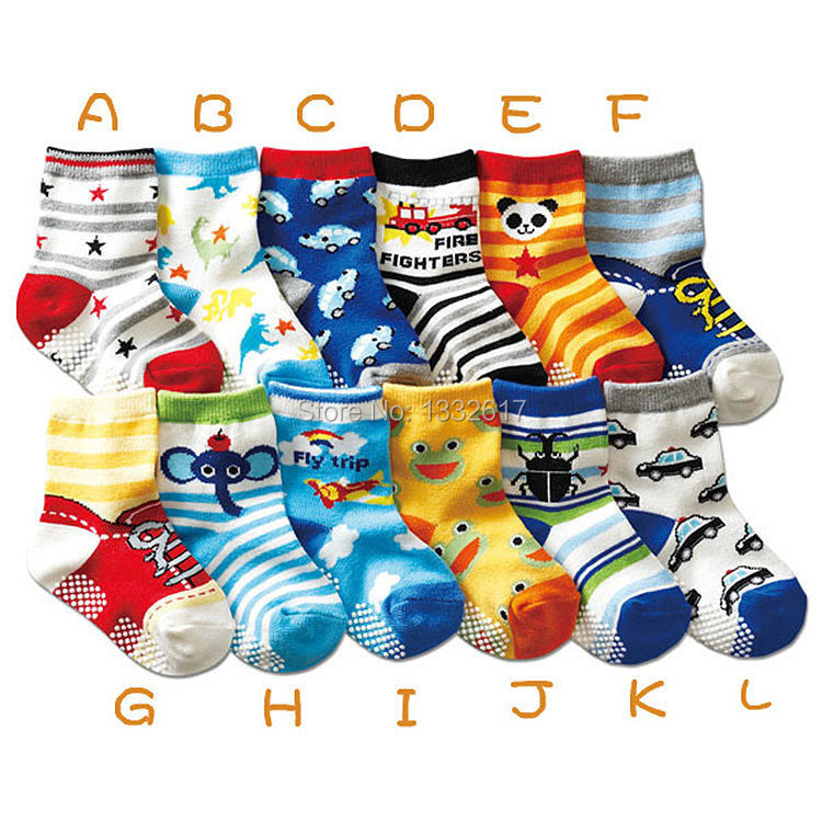 10pairs/lot Hot sale cartoon kids cotton baby anti slip socks / boys children socks suit for 1-3 years old F226