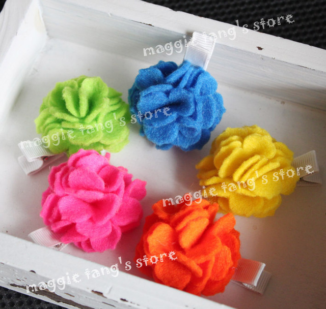 "2.5"" Girl's Felt hair bows hair clips Baby wool felt Flowers hair bows handmade clip B018 mixture colors"