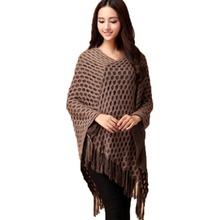 Women Tassels Hem Batwing Sleeve Shawl Cape Poncho Knit Cardigan Sweater Coat(China (Mainland))