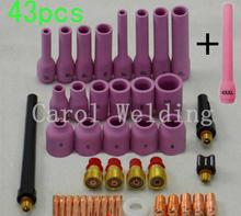 43pcs 42PK+1PK Extra Longest soldering iron gsgTIG Gas Lens KIT,Back Cap Collet Body Fit TIG Welding Torch