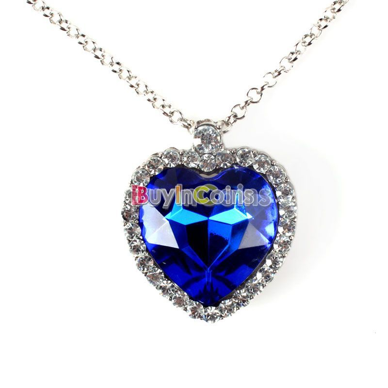 Woman Jewelry Blue Crystal Heart of Ocean Bling Rhinestone Pendant Necklace US AS#42001(China (Mainland))