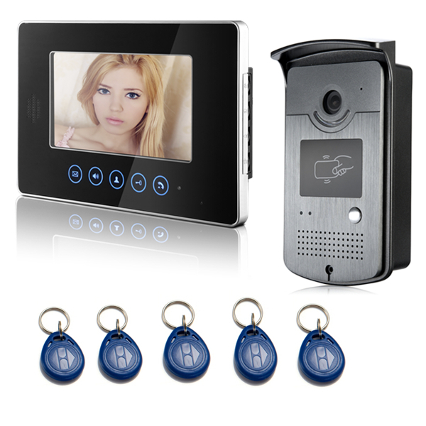 apartment building video intercom system wired 7 inch Touch Monitor LCD Video Door Phone 5pcs unlock Card 700TVL Door Camera(China (Mainland))