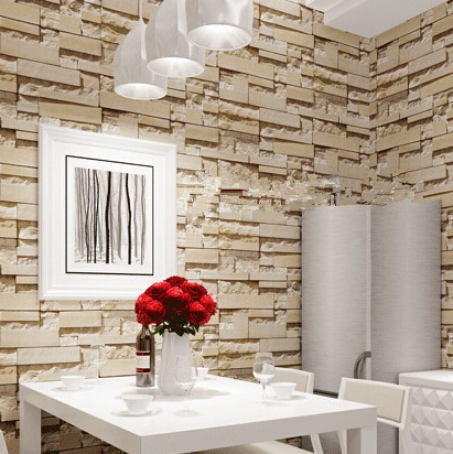 New style 3d luxury wood blocks effect brown stone brick - Wood effect wallpaper living room ...