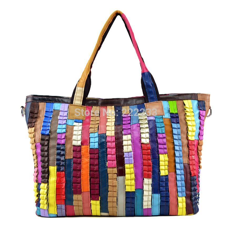 Genuine Leather Hit color stripes Sheepskin stitching women handbag Portable shoulder messenger Shopping bag hg0365<br><br>Aliexpress