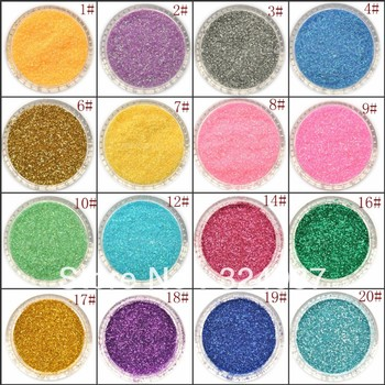 Free Shipping 20Color Glitter Acrylic Powder Dust For Nail Art Beauty