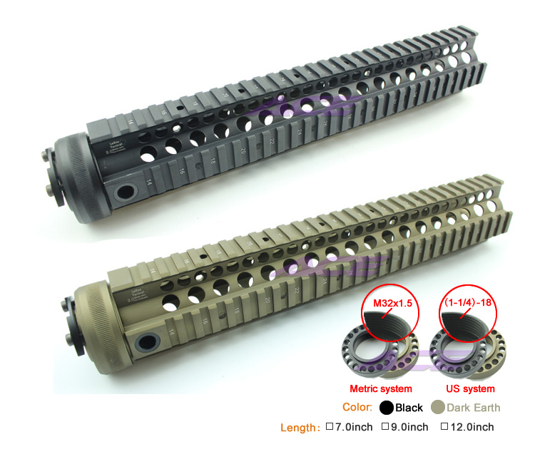 Freeshipping Aluminum 7-12 Inch tactical handguard picatinny rail for airsofts m4/ar15/m16 (BK,DE)(China (Mainland))